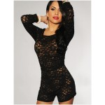 Solid Color Sexy Scoop Neck Cut Out Lace Long Sleeve Backless Jumpsuit For Women black