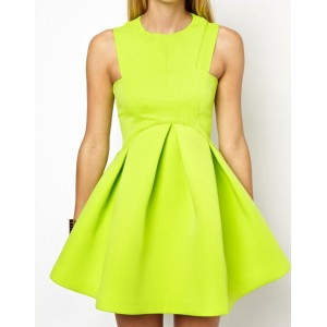 Solid Color Sleeveless Round Collar Wide Hem Ruched Zipper Closure Dress For Women green