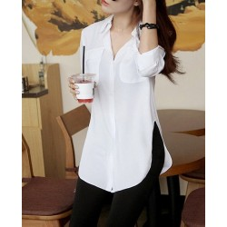 Solid Color Slit Side Design Long Sleeve Turn Down Collar Single Breasted Blouse For Women white