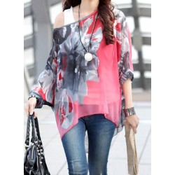 Sophisticated Floral Print Loose-Fitting 3/4 Sleeves Blouse For Women red