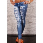 Stretchy Bleach Wash Printed Stylish Jean Legging For Women blue