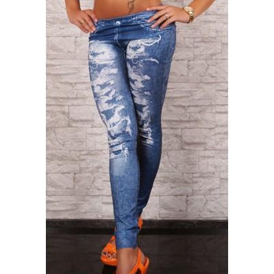 Stretchy Bleach Wash Printed Stylish Jean Legging For Women blue