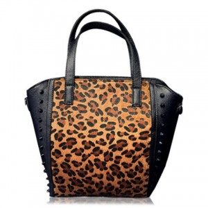 Stunning Women's Tote Bag With Splice and Rivets Design leopard black