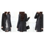 Stylish Double-Breasted Epaulet Embellished Long Sleeves Slimming Overcoat For Women gray black