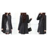 Stylish Double-Breasted Epaulet Embellished Long Sleeves Slimming Overcoat For Women gray black