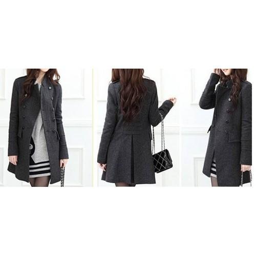 Embellished Long Sleeves Slimming Overcoat For Women gray black