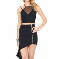 Stylish Halter Sleeveless Backless Spliced Crop Top For Women black