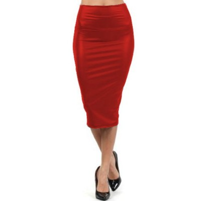 Stylish High-Waisted Solid Color Bodycon PU Leather Skirt For Women red black