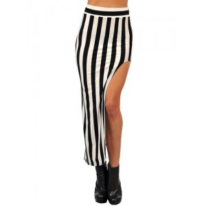 Stylish High-Waisted Striped Asymmetrical Skirt For Women white black