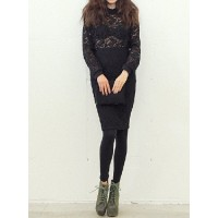 Stylish Lace Suits Solid Color Round Neck Long Sleeves Blouse and Skirt For Women black white