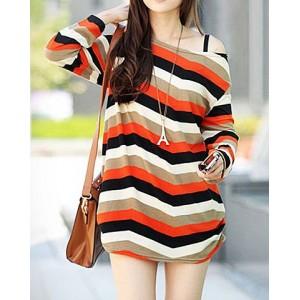 Stylish Long Sleeve Scoop Neck Striped Color Block T-Shirt For Women orange
