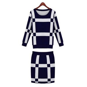 Stylish Round Neck Long Sleeve Color Block Knitwear + Bodycon Knitted Skirt Twinset For Women blue red