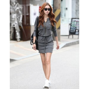 Stylish Round Neck Zipper Design Waist Drawstring Long Sleeve Solid Color Over Hip Dress For Women gray