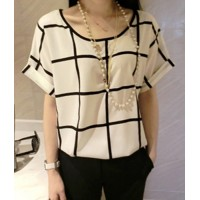 Stylish Scoop Neck Plaid Short Sleeve Chiffon T-Shirt For Women white