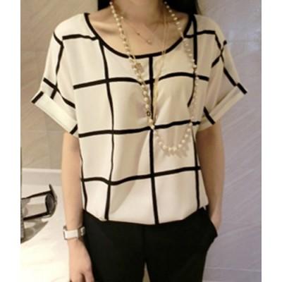 Stylish Scoop Neck Plaid Short Sleeve Chiffon T-Shirt For Women white