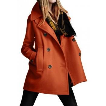 Stylish Turn-Down Neck Long Sleeve Double-Breasted Pocket Design Coat For Women brown black orange