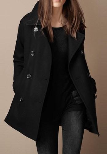 4f21308b07ac1 7 Luxurious Designer Black Coats For The Minimalist Women. Stylish Turn  Down Neck Long Sleeve Double Breasted Pocket Design