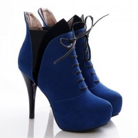 Stylish Women's Ankle Boots With Color Block and Suede Design blue black red