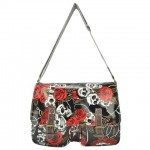 Stylish Women's Crossbody Bag With Floral Print and Skull Design white black