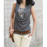 Stylish Women's Draped Collar Solid Color Slimming T-Shirt Twinset gray