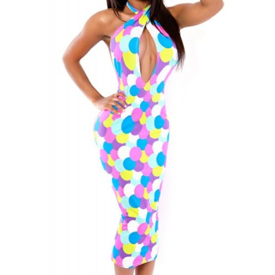 Stylish Women's Halter Hollow Out Polka Dot Dress