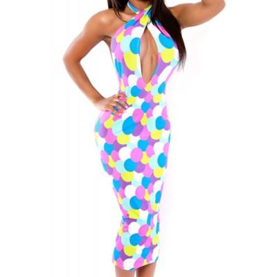 Stylish Women's Halter Hollow Out Polka Dot Dress