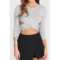 Stylish Women's Jewel Neck Long Sleeve Crop Top gray