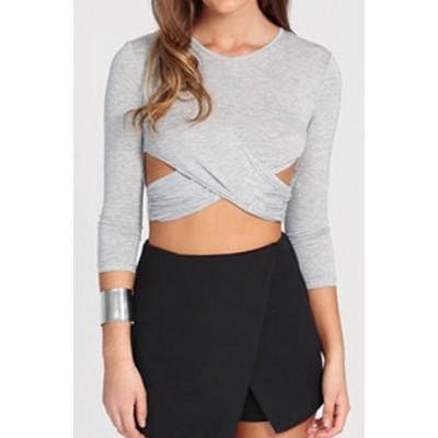 Stylish Women's Jewel Neck Long Sleeve Crop Top gray
