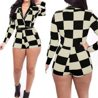 Stylish Women's Lapel Neck Long Sleeve Plaid Jumpsuit black white