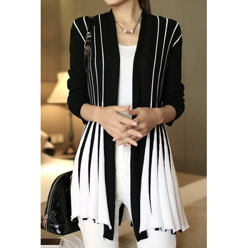 Stylish Women s Long Sleeve Color Block Cardigan black blue ...