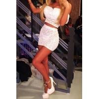Stylish Women's Off-The-Shoulder Lace Short Sleeve Suit white