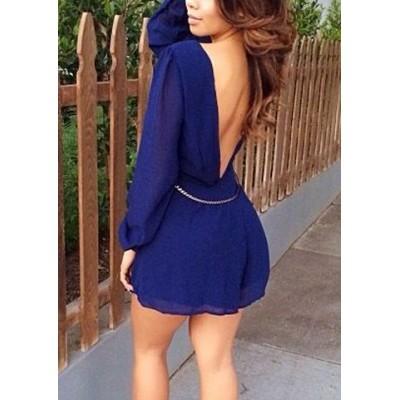 Stylish Women's Plunging Neckline Backless Long Sleeve Chiffon Dress blue