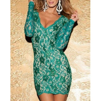 Stylish Women's Plunging Neckline Long Sleeve Backless Dress red green pink