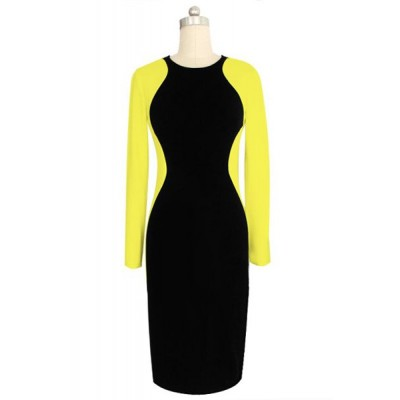 Stylish Women's Round Neck Long Sleeve Color Splicing Dress yellow white