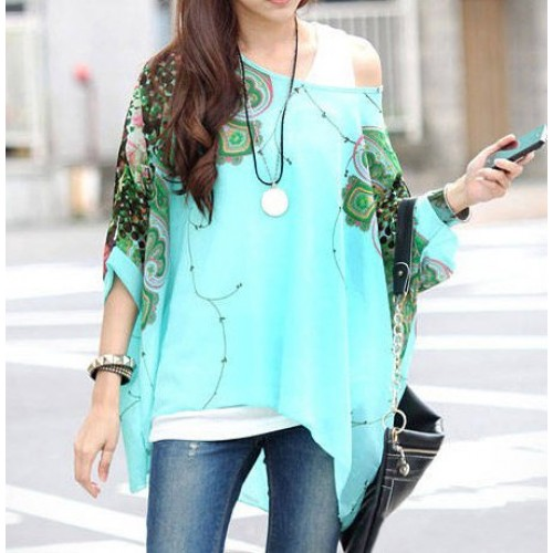 6559b10874e4 Stylish Women s Scoop Neck Batwing Sleeve Printed Loose-Fitting ...