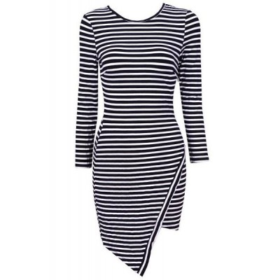 Stylish Women's Scoop Neck Long Sleeve Striped Bodycon Dress black white