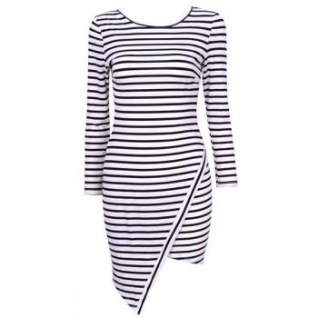 Stylish Women's Scoop Neck Long Sleeve Striped Bodycon Dress black white