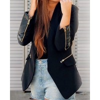 Stylish Women's Shawl Collar Long Sleeve Zippered Slimming Blazer black