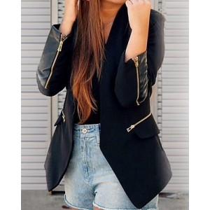 Stylish Women's Shawl Collar Long Sleeve Zippered Slimming Blazer black