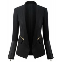 Stylish Women's Shawl Neck Long Sleeve Zippered Blazer black