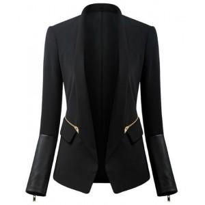 Stylish Women's Shawl Neck Long Sleeve Zippered Blazer black