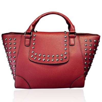 Stylish Women's Tote Bag With PU Leather and Rivets Design red black blue brown