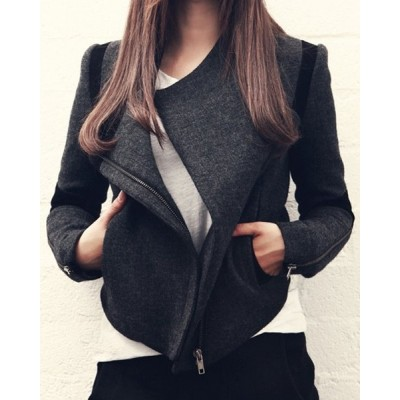 Stylish Women's Turn-Down Collar Long Sleeve Color Block Coat black