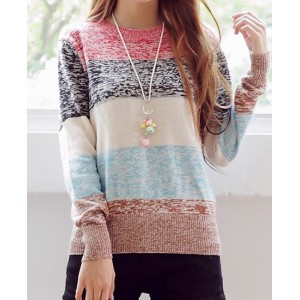 Sweet Round Neck Long Sleeve Striped Sweater For Women