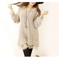 Sweet Scoop Neck Solid Color Lace Splicing Long Sleeves Slimming Dress For Women khaki white pink
