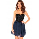 Sweet Sweetheart Neckline Lace Splicing Chiffon Party Dresses For Women blue white