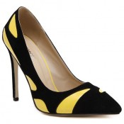 Trendy Women's Pumps With Color Block and PU Leather Design Yellow