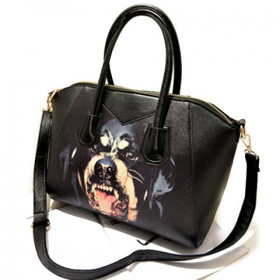 Trendy Women's Shoulder Bag With Dog Pattern and PU Leather Design black