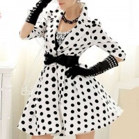 Vintage Lapel Neck Polka Dot 3/4 Length Sleeve Women's Trench Coat white