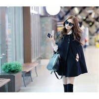 Vintage Style Scoop Neck Sleeveless Slant Cut Three Buttons Woolen Blend Cloak For Women black